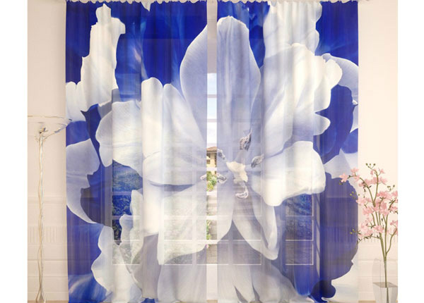 Tylliverhot BLUE WHITE TULIP 290x260 cm AÄ-138217
