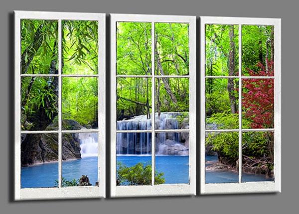 Kolmeosainen seinätaulu WINDOW WATERFALL 120x80 cm ED-139731