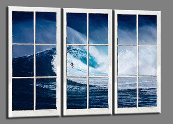 Kolmeosainen seinätaulu SURFER WAVE 120x80 cm ED-139732