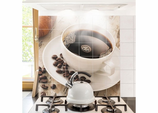Tarrat seinälaatoille STEAMING COFFEE CUP WITH COFFEE BEANS 120x120 cm ED-139981