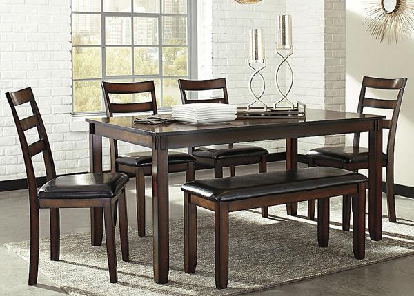 Ruokapöytä 153x92 cm + 4 tuolia ja penkki BM-142663