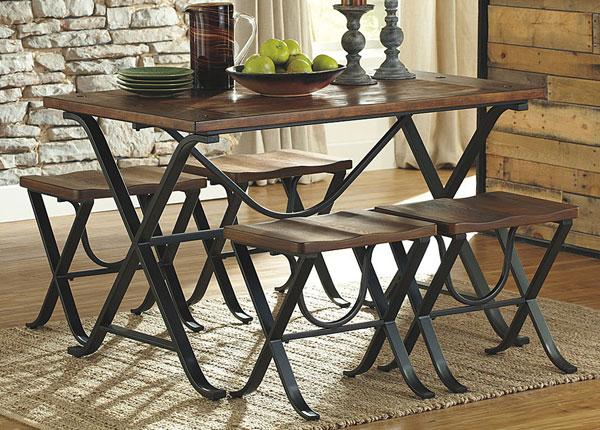 Ruokapöytä 122x76 cm + 4 penkkiä BM-142670