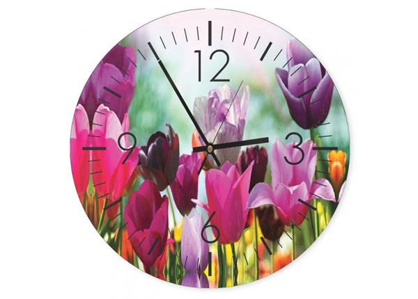 Seinäkello Colorful tulips kuvalla