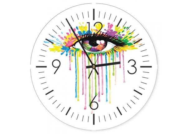 Seinäkello Colorful eye kuvalla