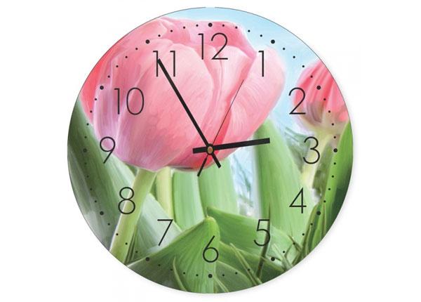 Seinäkello Pink tulips kuvalla