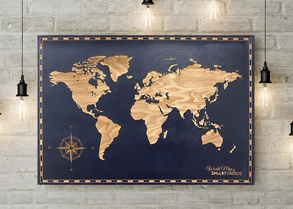 Puinen seinätaulu MAAILMAN KARTTA 60x40 cm