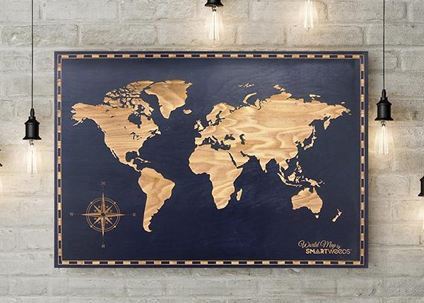 Puinen seinätaulu MAAILMAN KARTTA 120x60 cm