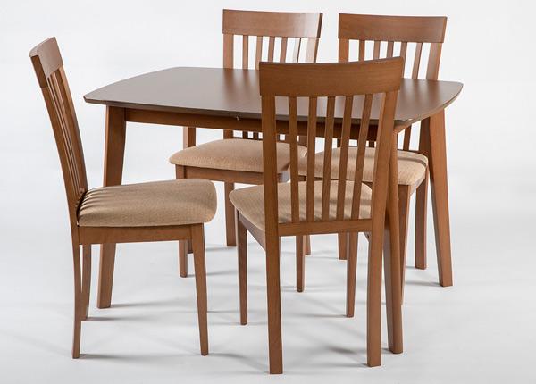Jatkettava ruokapöytä Bari 80x120-150 cm ja 4 tuolia MODENA, pähkinä GO-145354
