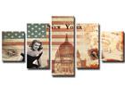 Viisiosainen seinätaulu USA ED-65567