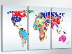 Kolmeosainen seinätaulu WORLDMAP ED-67564