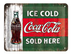 Retro metallijuliste COCA-COLA ICE COLD SOLD HERE 15x20cm SG-78408
