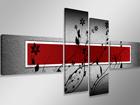 Neljäosainen seinätaulu PUNAINEN SEINÄ 160x70 cm ED-86587
