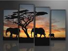 Neljäosainen seinätaulu AFRIKKA 130X80 cm ED-88902