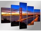Viisiosainen seinätaulu GOLDEN GATE BRIDGE 160x80 cm ED-89581