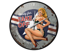 Retrotyylinen seinäkello PIN UP READY FOR TAKE OFF SG-91847