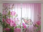 Sifonki-kuvaverho BUTTERFLIES AND PINK ROSES 240x220 cm ED-99912