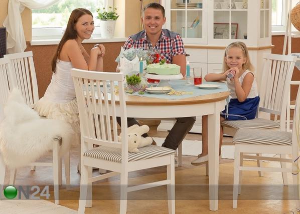 Jatkettava ruokapöytä FAMILY 105x165-215 cm, valkoinen+tammi WM-102303