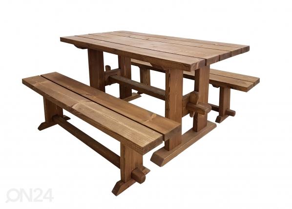 Puutarhapöytä ja penkit MP-117052