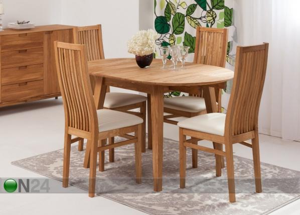 Tammi jatkettava ruokapöytä BASEL + 4 tuolia SANDRA EC-119291