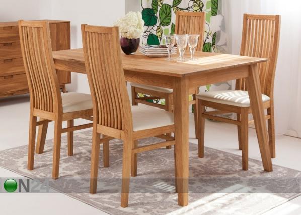 Tammi ruokapöytä GENF + 4 tuolia SANDRA EC-119701