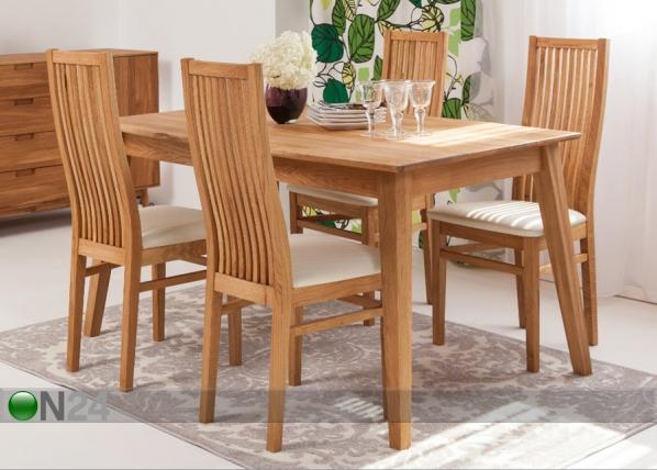 Tammi ruokapöytä GENF + 4 tuolia SANDRA EC-125536