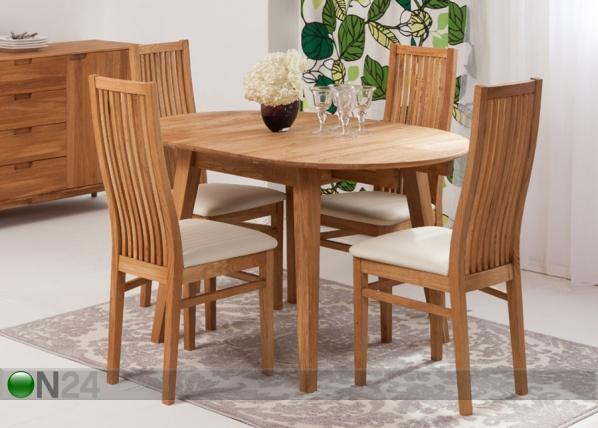 Tammi jatkettava ruokapöytä BASEL + 4 tuolia SANDRA EC-125608