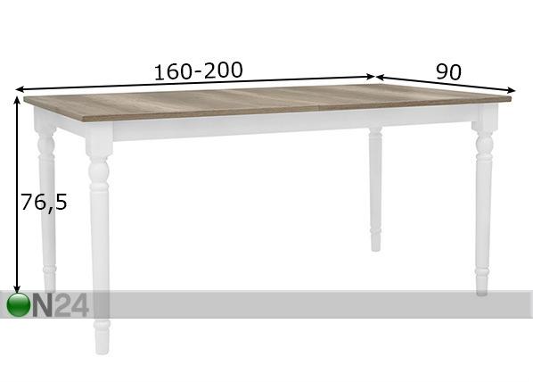 Jatkettava ruokapöytä 90x160-200 cm TF-128427