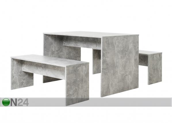 Ruokapöytä 118x78 cm + 2 penkkiä CM-128814