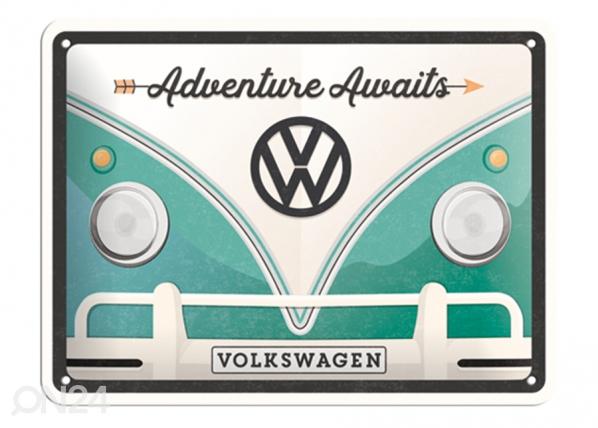 Retrotyylinen metallijuliste VW BULLI ADVENTURE AWAITS 15x20 cm SG-132754
