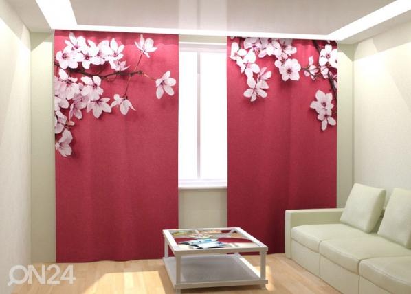 Kuvaverhot CHERRY FLOWERS AND RED 300x260 cm AÄ-133035