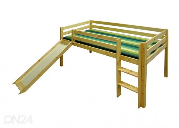 Parvisänky+liukumäki, mänty 90x200 cm TW-26930