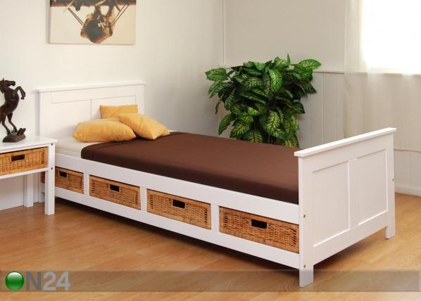 Sänky BRITT 90x200 cm+4 korilaatikkoa FY-33963