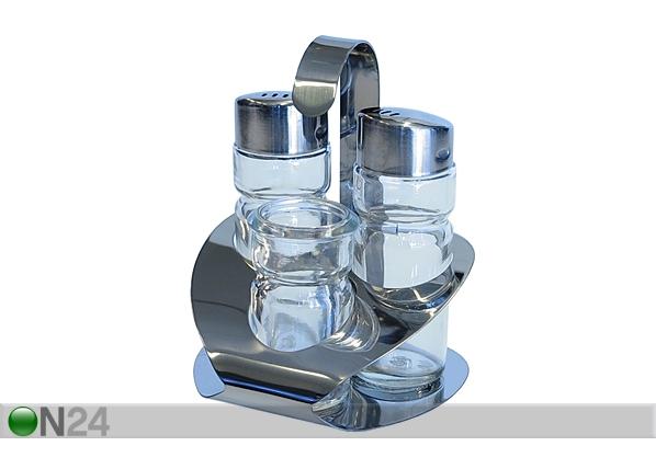 Suola-, pippuri- ja hammastikkuastiat alustalla ET-50842