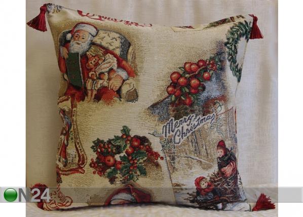 Gobeliinikankainen, jouluaiheinen koristetyyny SLEIGH TG-56075