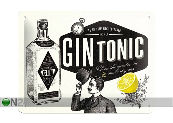 Retrotyylinen metallijuliste GIN TONIC 15x20 cm SG-68143