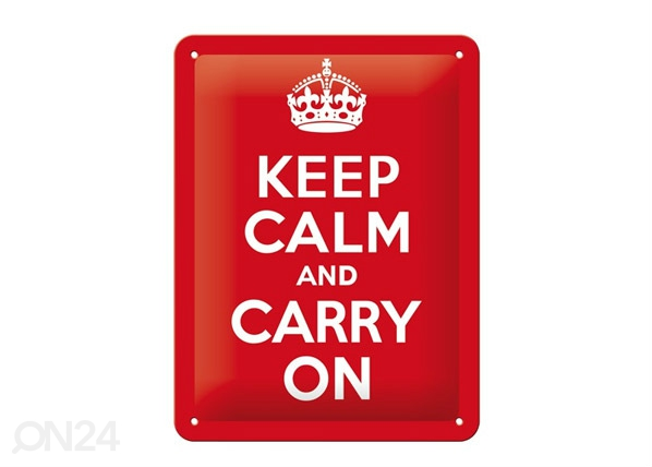 Retrotyylinen metallijuliste KEEP CALM AND CARRY ON 15x20 cm SG-68147