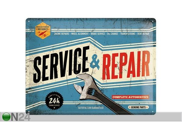 Retrotyylinen metallijuliste SERVICE & REPAIR 30x40 cm SG-68165