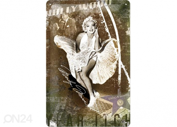 Retrotyylinen metallijuliste MARILYN MONROE HOLLYWOOD 20x30 cm SG-73484