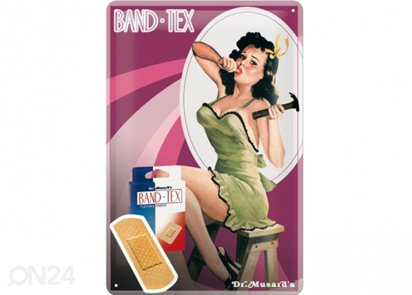 Retrotyylinen metallijuliste PIN UP BAND-TEX 20x30 cm SG-73488
