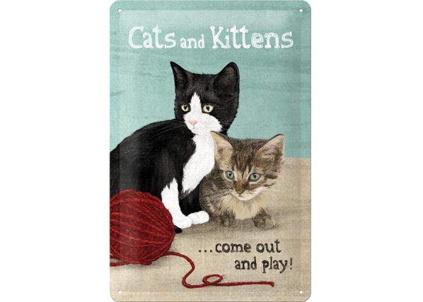 Retrotyylinen metallijuliste CATS AND KITTENS 20x30 cm SG-73492
