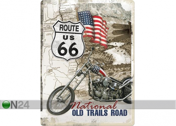 Retrotyylinen metallijuliste ROUTE 66 NATIONAL OLD TRAILS ROAD 30x40 cm SG-73498