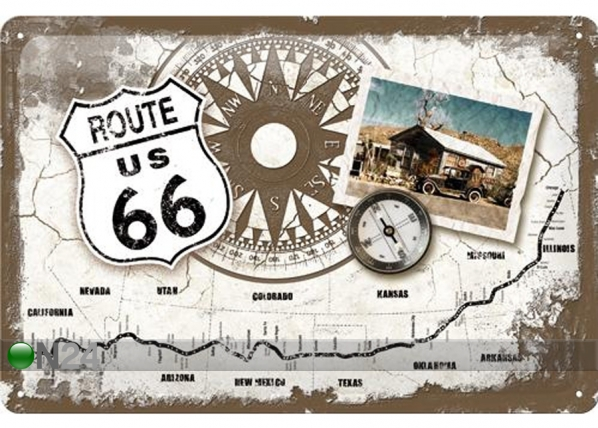 Retrotyylinen metallijuliste ROUTE 66 KOMPASS 20x30 cm SG-74266