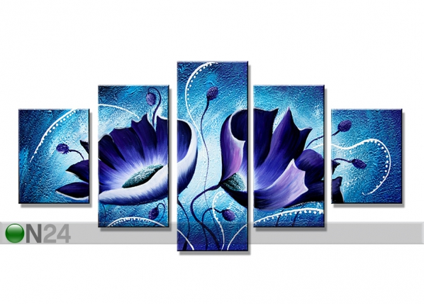 Viisiosainen seinätaulu SINIVUOKKO 160x80 cm ED-75059
