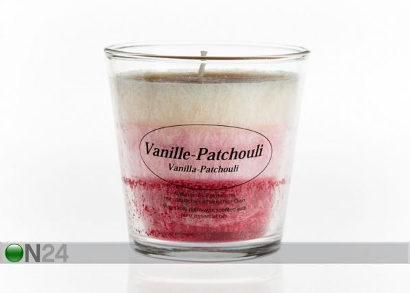 Palmuvahakynttilä lasissa VANILIJA-PATSULI CO-77654