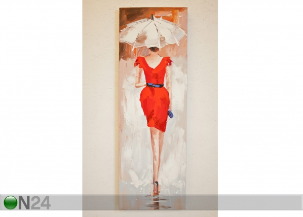 Öljymaalaus LADY PUNAISESSA 120x40 cm SI-78067