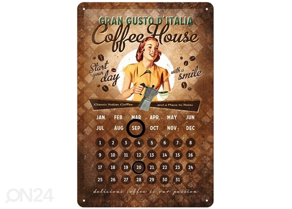 Retrotyylinen metallijuliste COFFEE HOUSE 20x30 cm SG-82358