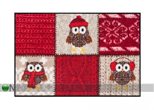 Matto WINTER OWLS RED 50x75 cm A5-84594