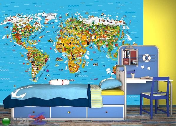 Kuvatapetti WORLD MAP 360x254 cm ED-88018