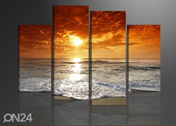 Neljäosainen seinätaulu AURINGONLASKU 130x80 cm ED-88913