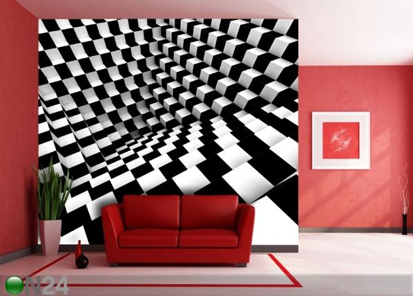 Fleece-kuvatapetti BLACK AND WHITE DICE 360x270 cm ED-90632